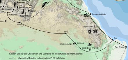 Oman 1 Woche Rundreise Karte