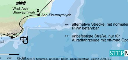 Oman Routenkarte Küstenstraße Masirah
