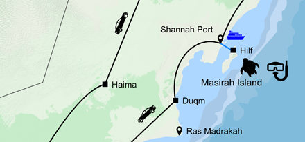 Routenkarte Oman Küste Wüstenstraße